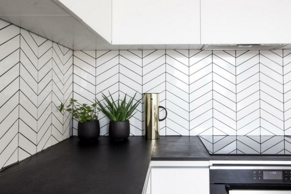 White kitchen black countertop trends 2021 6